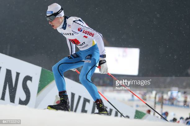 Adam Cieslar of Poland competes in the Men's Nordic Combined HS130 Ski Jumping / 2 x 7.5km Team Sprint Cross Country during the FIS Nordic World Ski...