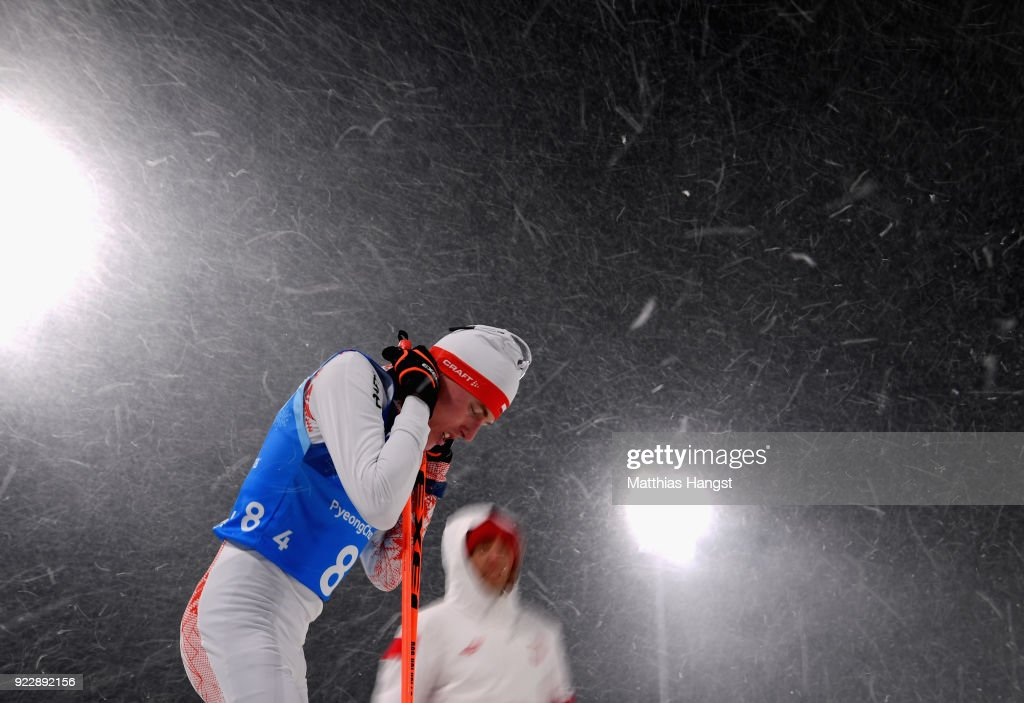 Adam Cieslar of Poland looks on after the Nordic Combined Team Gundersen LH/4x5km, Cross-Country on day thirteen of the PyeongChang 2018 Winter Olympic Games at Alpensia Cross-Country Centre on February 22, 2018 in Pyeongchang-gun, South Korea.