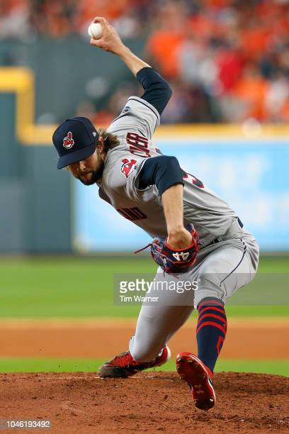 Adam Cimber of the Cleveland Indians delivers a pitch in the fifth inning against the Houston Astros during Game One of the American League Division...