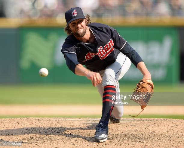 Adam Cimber of the Cleveland Indians pitches against the Chicago White Sox on August 12 2018 at Guaranteed Rate Field in Chicago Illinois