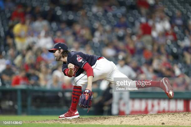 Adam Cimber of the Cleveland Indians pitches against the Chicago White Sox in the tenth inning at Progressive Field on September 20 2018 in Cleveland...
