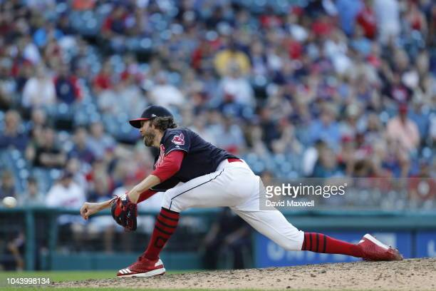 Adam Cimber of the Cleveland Indians pitches against the Detroit Tigers during the eighth inning at Progressive Field on September 15 2018 in...
