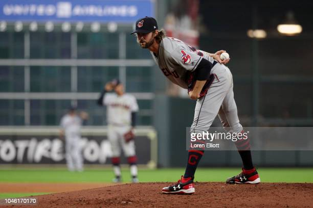 Adam Cimber of the Cleveland Indians pitches during Game 1 of the ALDS against the Houston Astros at Minute Maid Park on Friday October 5 2018 in...