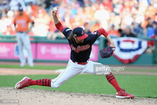 Adam Cimber of the Cleveland Indians pitches in the ninth inning against the Houston Astros during Game Three of the American League Division Series...