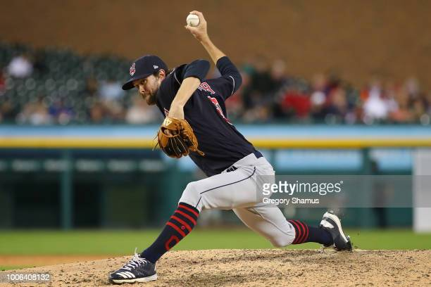Adam Cimber of the Cleveland Indians throws a eighth inning pitch while playing the Detroit Tigers at Comerica Park on July 27 2018 in Detroit...