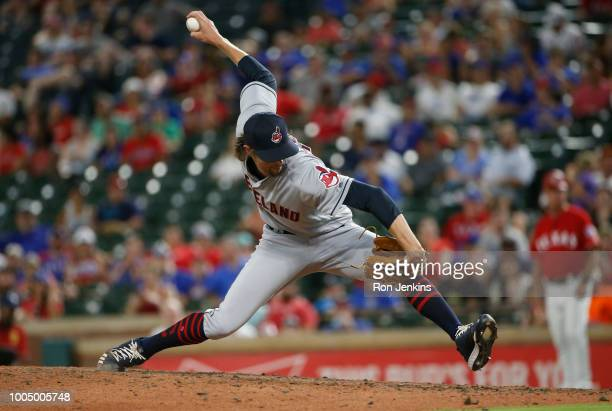 Adam Cimber of the Cleveland Indians throws against the Texas Rangers during the eighth inning at Globe Life Park in Arlington on July 20 2018 in...