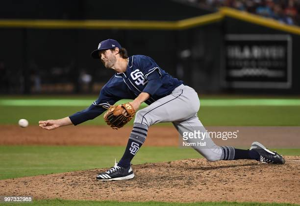 Adam Cimber of the San Diego Padres delivers a pitch against the Arizona Diamondbacks at Chase Field on July 8 2018 in Phoenix Arizona