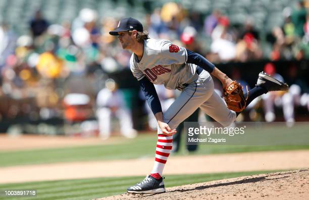 Adam Cimber of the San Diego Padres pitches during the game against the Oakland Athletics at the Oakland Alameda Coliseum on July 4 2018 in Oakland...