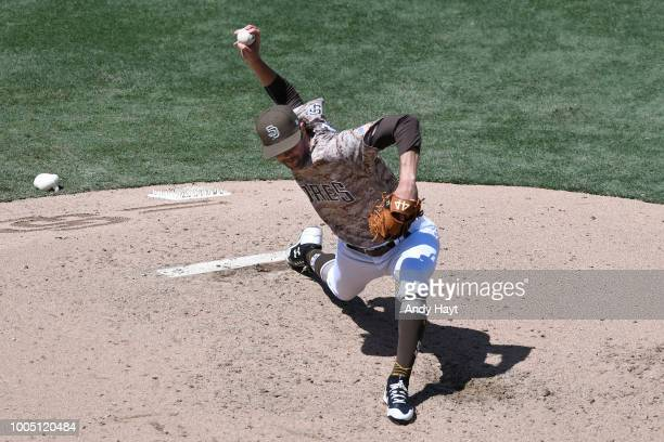 Adam Cimber of the San Diego Padres pitches during the game against the Chicago Cubs at PETCO Park on July 15 2018 in San Diego California