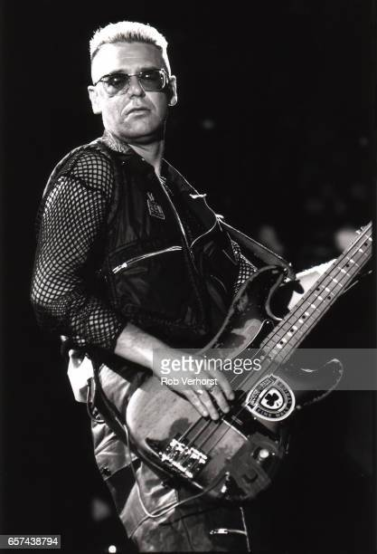 Adam Clayto of U2 performs on stage at Feyenoord Stadiium on the Zoo TVZooropa Tour De Kuip Rotterdam Netherlands 9th May 1993
