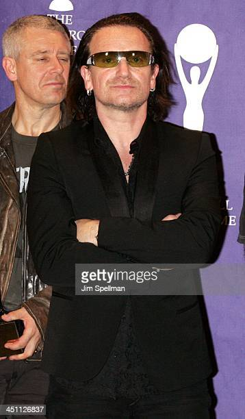 Adam Clayton and Bono of U2 inductees during 20th Annual Rock and Roll Hall of Fame Induction Ceremony Press Room at Waldorf Astoria Hotel in New...