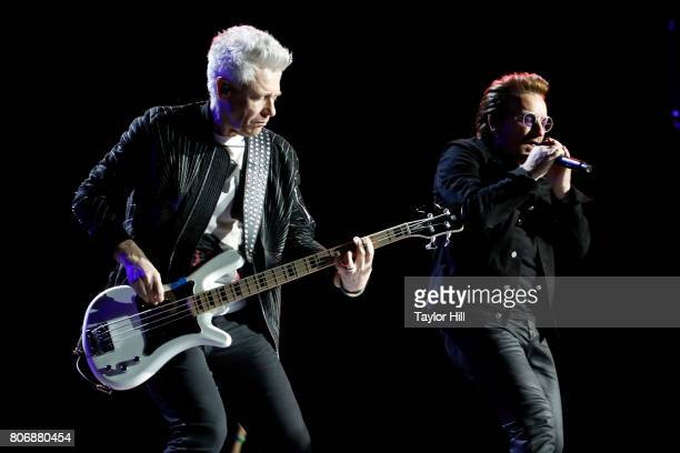 Adam Clayton and Bono of U2 perform during 'The Joshua Tree Tour 2017' at MetLife Stadium on June 29 2017 in East Rutherford New Jersey