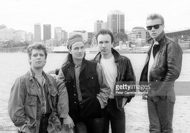 Adam Clayton, Bono, The Edge and Larry Mullen Jr from the band 'U2' during their 'Unforgettable Fire' world concert tour in September, 1984 in...