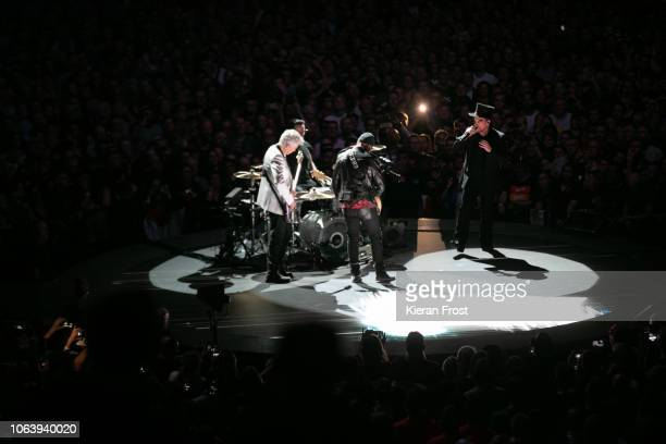 Adam Clayton Larry Mullen Jr The Edge and Bono of U2 perform the first of four homecoming shows at the 3Arena Dublin on November 05 2018 in Dublin...