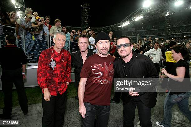 Adam Clayton, Larry Mullen Jr, The Edge and Bono of U2 pose ahead of their concert at the first of three rescheduled Sydney dates on their Vertigo...