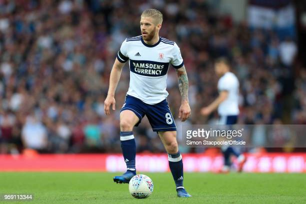 Adam Clayton of Boro in action during the Sky Bet Championship Play Off Semi Final Second Leg match between Aston Villa and Middlesbrough at Villa...