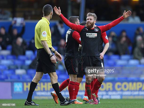 Adam Clayton of Huddersfield Town celebrates his goal during the Sky Bet Championship match between Birmingham City and Huddersfield Town at St...