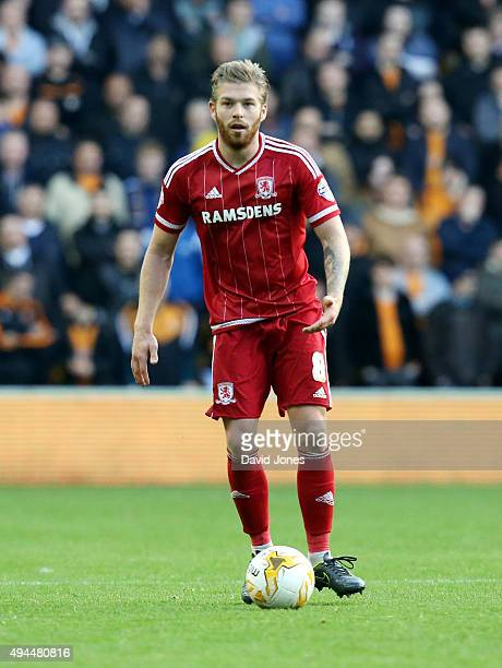 Adam Clayton of Middlesborough in action during the Sky Bet Championship match between Wolverhampton Wanderers and Middlesborough at Molineux Stadium...