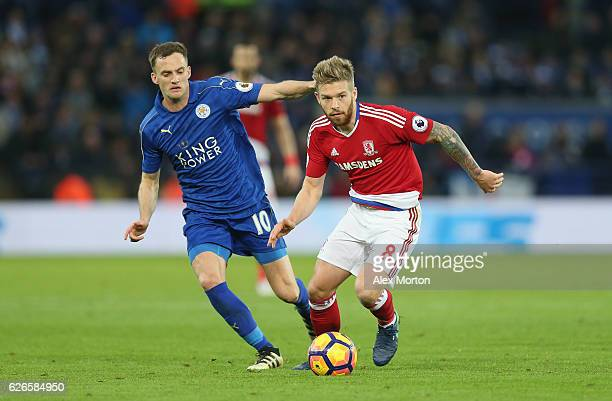 Adam Clayton of Middlesbrough and Andy King of Leicester during the Premier League match between Leicester City and Middlesbrough at The King Power...