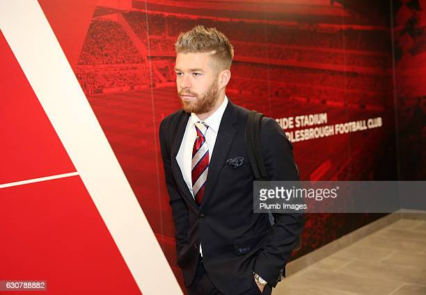Adam Clayton of Middlesbrough arrives at Riverside Stadium ahead of the Premier League match between Middlesbrough and Leicester City at Riverside...