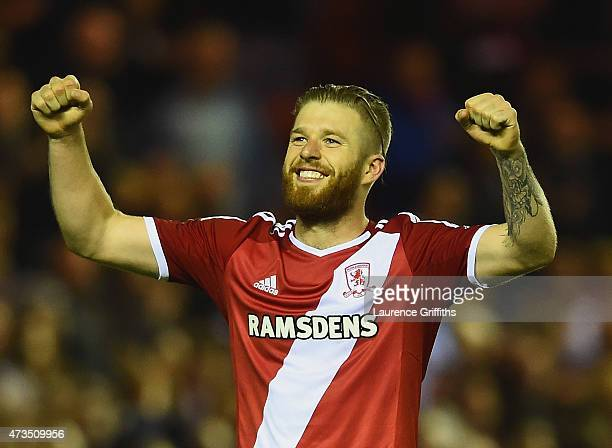 Adam Clayton of Middlesbrough celebrates as they reach the final after the Sky Bet Championship Playoff semi final second leg match between...
