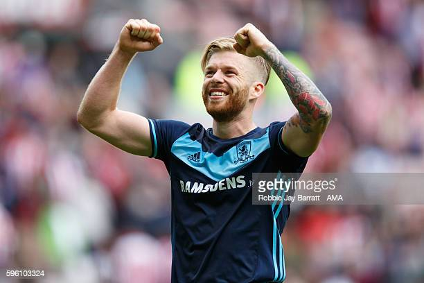 Adam Clayton of Middlesbrough celebrates during the Premier League match between Sunderland and Middlesbrough at Stadium of Light on August 21 2016...