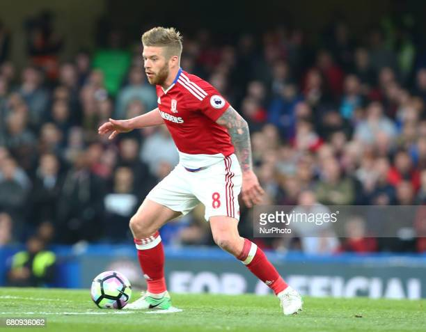 Adam Clayton of Middlesbrough during Premier League match between Chelsea and Middlesbrough at Stamford Bridge London England on 08 May 2017