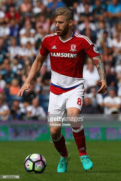 Adam Clayton of Middlesbrough during the Premier League match between West Bromwich Albion and Middlesbrough at The Hawthorns on August 28 2016 in...