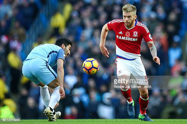 Adam Clayton of Middlesbrough during the Premier League match between Manchester City and Middlesbrough at Etihad Stadium on November 5 2016 in...