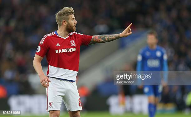 Adam Clayton of Middlesbrough during the Premier League match between Leicester City and Middlesbrough at The King Power Stadium on November 26 2016...