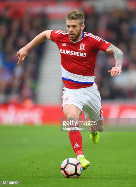 Adam Clayton of Middlesbrough in action during The Emirates FA Cup QuarterFinal match between Middlesbrough and Manchester City at Riverside Stadium...