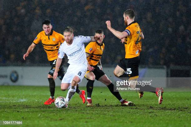 Adam Clayton of Middlesbrough in action during the FA Cup Fourth Round Replay match between Newport County and Middlesbrough at Rodney Parade on...