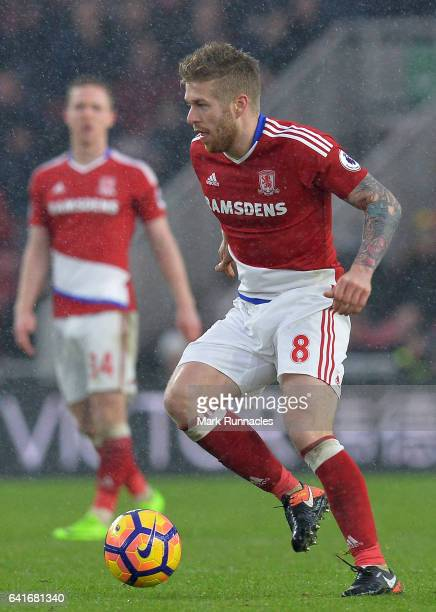 Adam Clayton of Middlesbrough in action during the Premier League match between Middlesbrough and Everton at Riverside Stadium on February 11 2017 in...