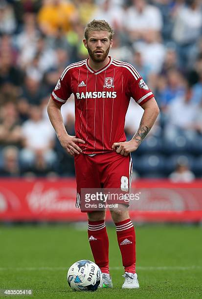 Adam Clayton of Middlesbrough in action during the Sky Bet Championship match between Preston North End and Middlesbrough at Deepdale on August 9...