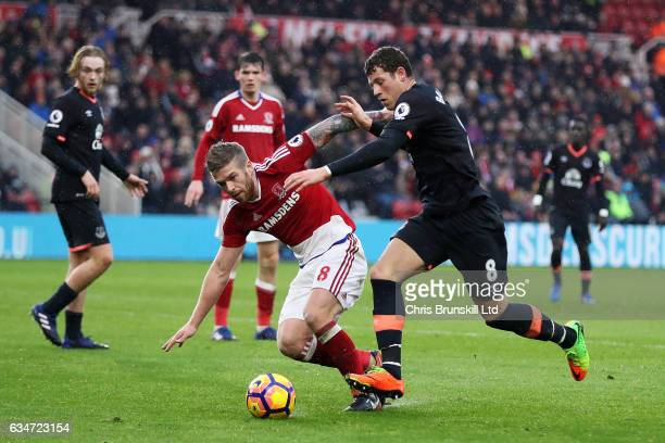 Adam Clayton of Middlesbrough in action with Ross Barkley of Everton during the Premier League match between Middlesbrough and Everton at Riverside...