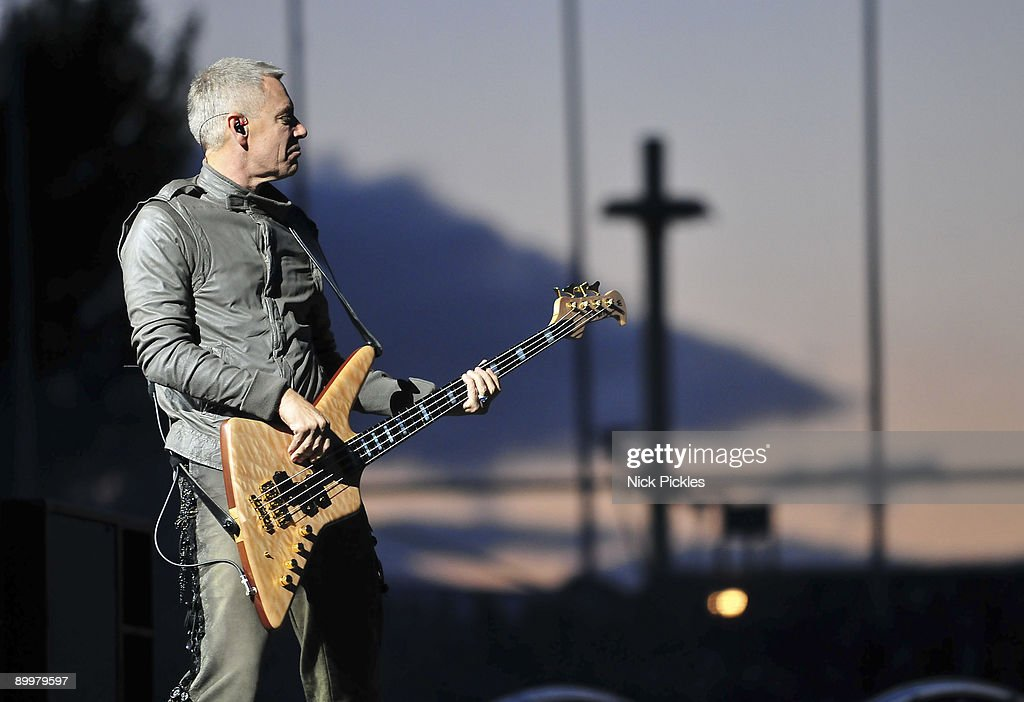 Adam Clayton of U2 performs at Don Valley Stadium on August 20, 2009 in Sheffield, England.