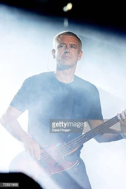 Adam Clayton of U2 performs on stage at the first of three rescheduled Sydney dates on their Vertigo Tour, at the Telstra Stadium on November 10,...