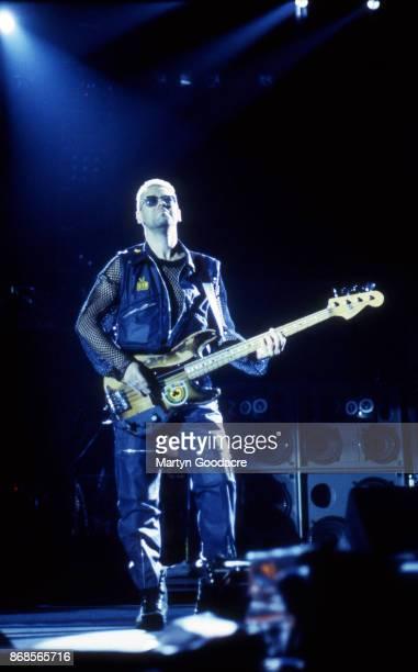 Adam Clayton of U2 performs on stage on the Zoo TV Tour Estadio Jose Alvalade Lisbon Portugal 15 May 1993