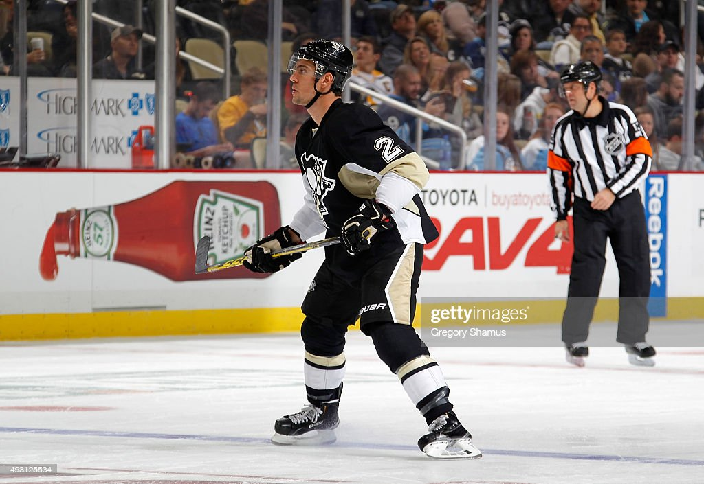 Adam Clendening #2 of the Pittsburgh Penguins skates against the Ottawa Senators at Consol Energy Center on October 15, 2015 in Pittsburgh, Pennsylvania.