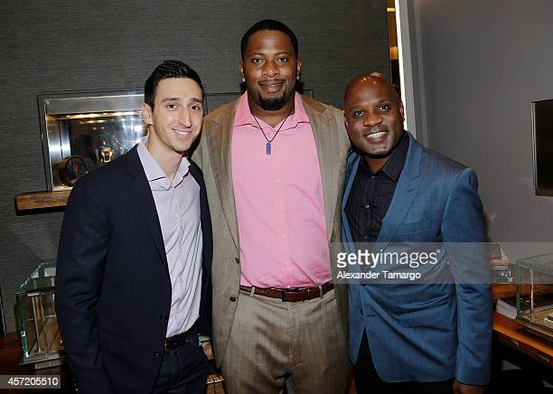 Adam Cohen Randy Starks and Lamell McMorris are seen at David Yurman InStore Shopping Event Hosted by Randy Starks To Benefit The Florida Breast...