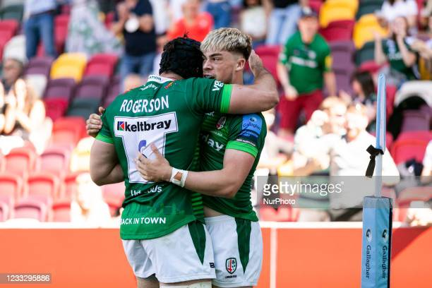 Adam Coleman and Ollie Hassell Collins of London Irish celebrates after scoring a try during the Gallagher Premiership match between London Irish and...