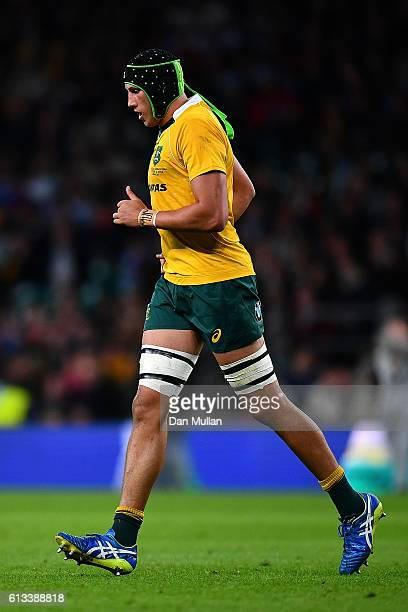 Adam Coleman of Australia leaves the field after a yellow card during The Rugby Championship match between Argentina and Australia at Twickenham...
