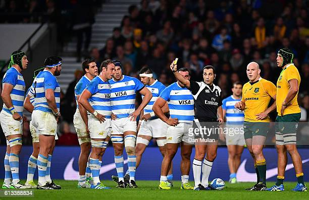 Adam Coleman of Australia lis shown a yellow card during The Rugby Championship match between Argentina and Australia at Twickenham Stadium on...