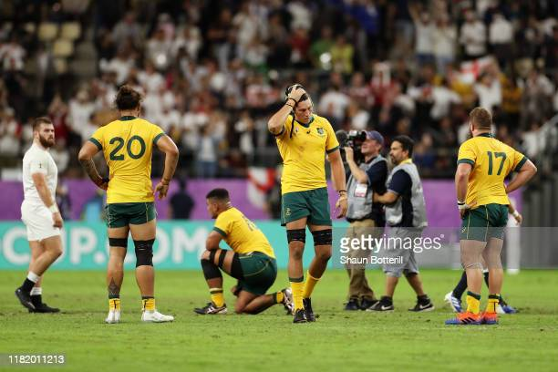 Adam Coleman of Australia looks dejected in defeat after the Rugby World Cup 2019 Quarter Final match between England and Australia at Oita Stadium...