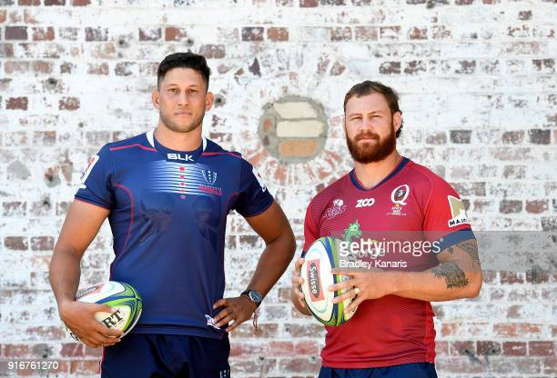 Adam Coleman of the Rebels and Scott Higginbotham of the Reds pose for a photo during the 2018 Super Rugby Season Launch at Brisbane Powerhouse on...