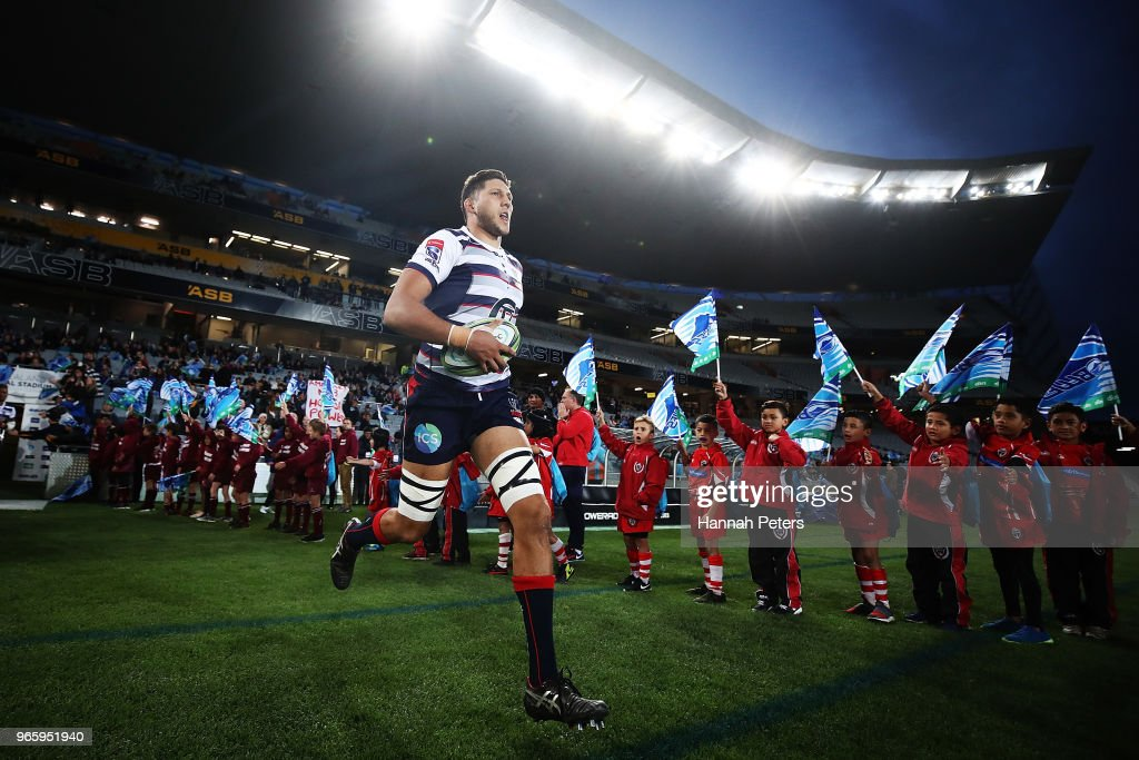 Adam Coleman of the Rebels runs out ahead of the round 16 Super Rugby match between the Blues and the Rebels at Eden Park on June 2, 2018 in Auckland, New Zealand.