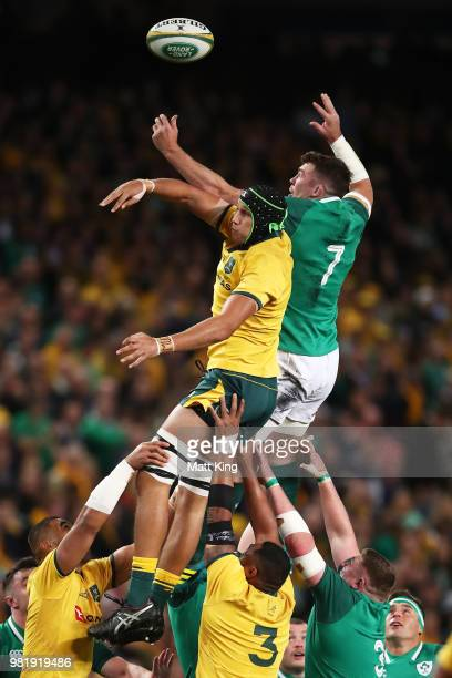 Adam Coleman of the Wallabies competes with Peter O'Mahony of Ireland at the lineout during the Third International Test match between the Australian...