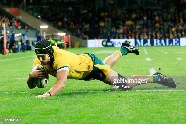 Adam Coleman of the Wallabies scores a try during the International Test match between the Australian Wallabies and Manu Samoa at Bankwest Stadium on...