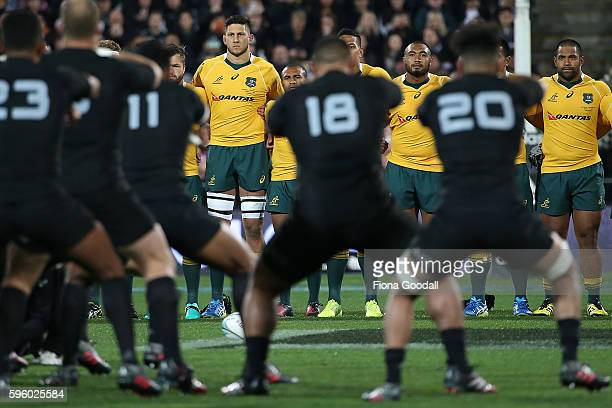 Adam Coleman of the Wallabies watches the Haka during the Bledisloe Cup Rugby Championship match between the New Zealand All Blacks and the Australia...
