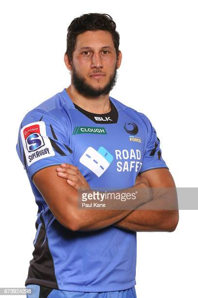 Adam Coleman poses during a Western Force Super Rugby headshots session at the Rugby WA office on April 27 2017 in Perth Australia